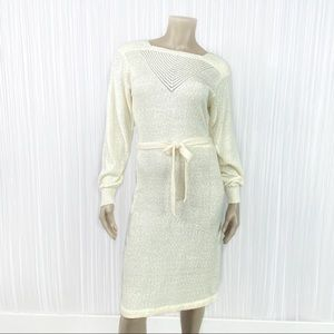 Vintage 70s Long Sleeve Ivory Casual Knit Dress M